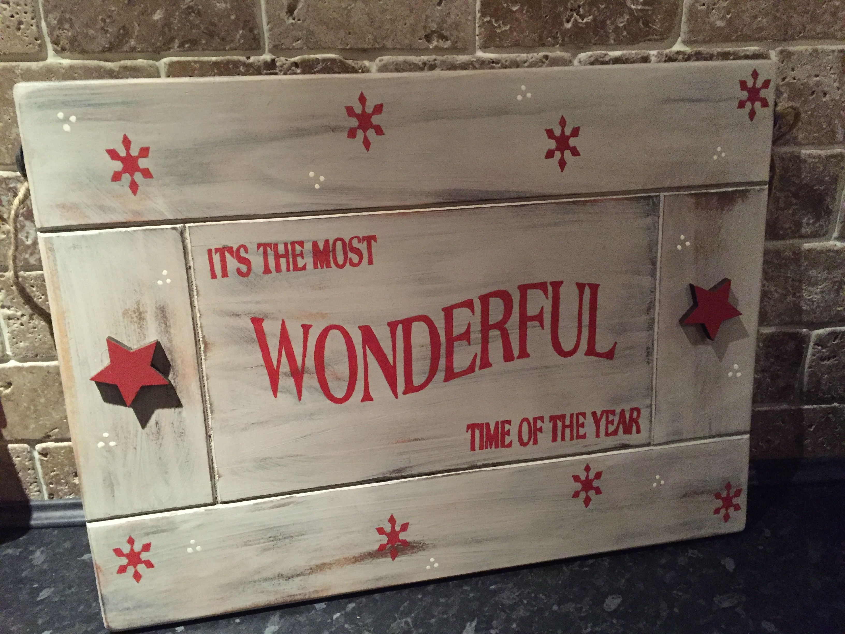 Large Christmas Wooden Sign Made From An Old Cupboard Door,