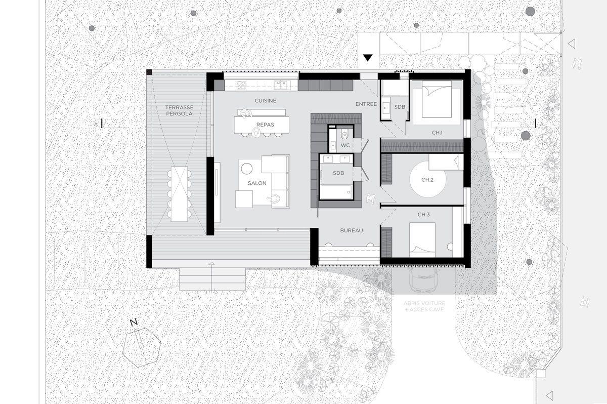 Maison contemporaine à Caluire en béton, sur un terrain en