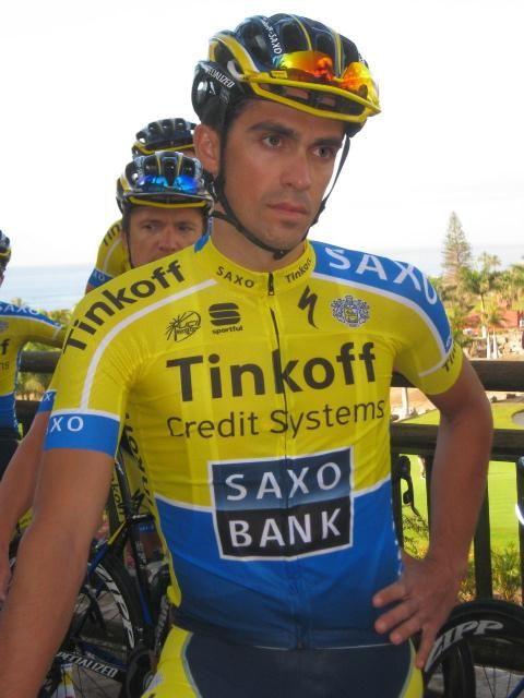 Gallery: Tinkoff-Saxo unveils 2014 team kit - Alberto Contador sports the 2014 Tinkoff-Saxo jersey.