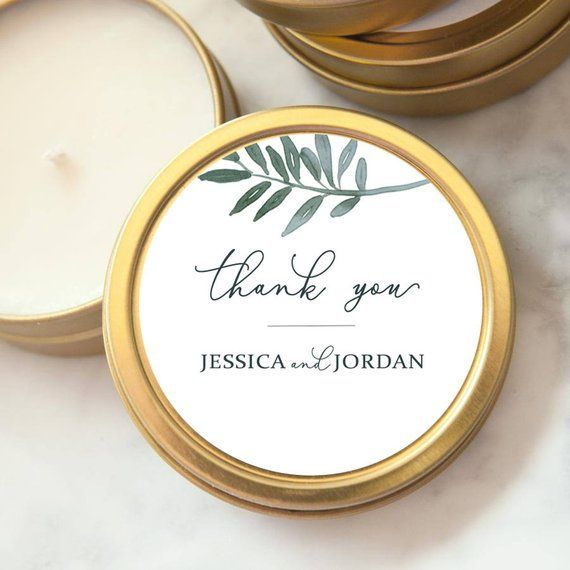 Wedding Favors, Gold Tin Custom Personalized Candles, Candle Wedding Favors, Mini Soy Candles, Shower, Party Favors, Botanical #personalizedwedding