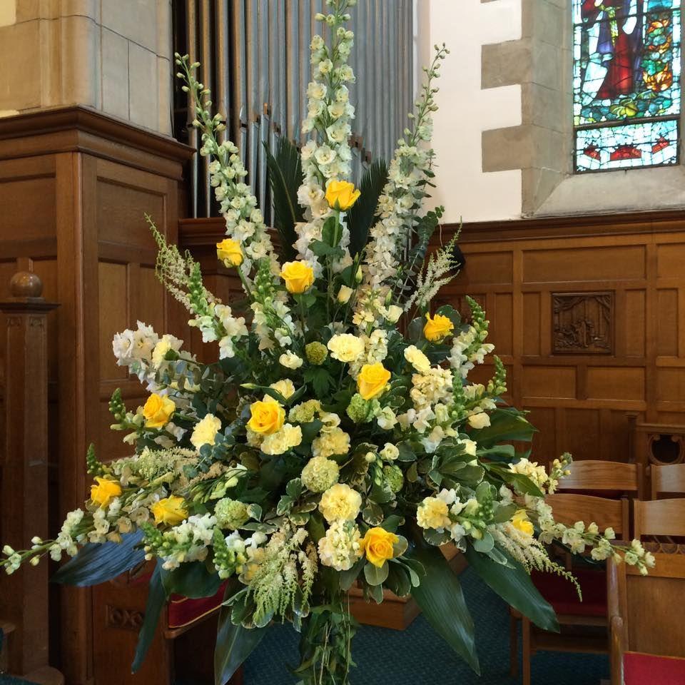 Yellow Wedding Flower Arrangements Church Altar: Pin By Veronica Hoenshell On Funeral Arrangements
