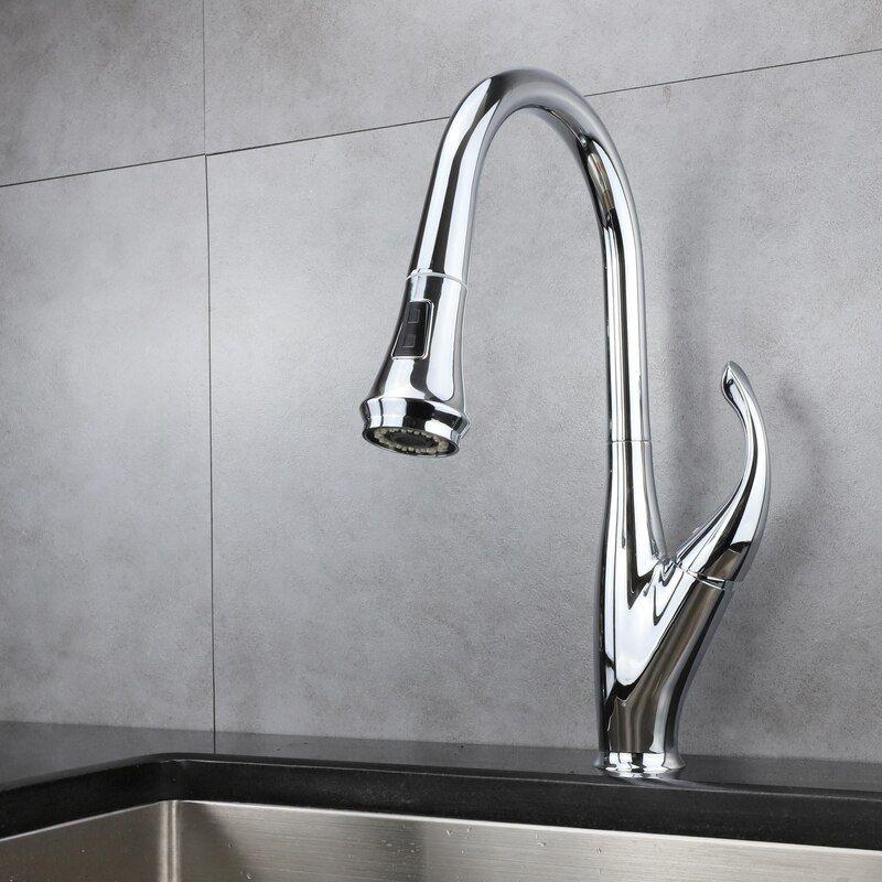 Garbatella Brass Kitchen Faucet W Pull Out Sprayer Chrome