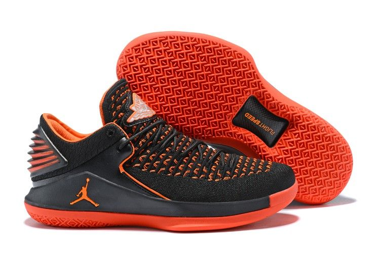 new styles 7a771 f0e4b 2018 Air Jordan 32 Low Black Team Orange Mens Shoes Online Sale