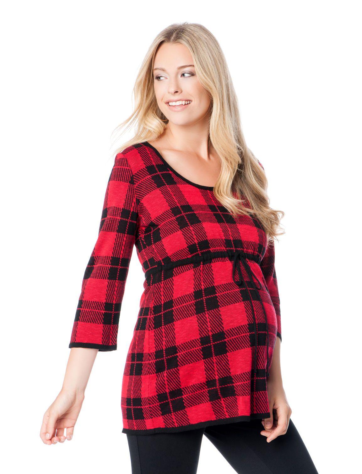 dcf2f4b5f48ea festive red + black plaid babydoll maternity sweater by Motherhood Maternity  | Pregnancy Wishlist