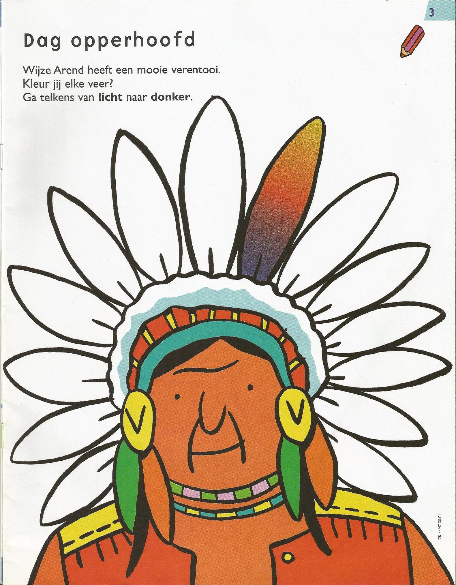 Kleurplaat Opperhoofd Thema Cowboyfeest Indiaan