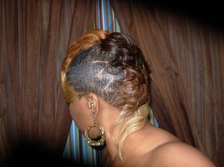 Awesome Raymona Hairstyles With Weave Four Tone Mohawk Back View Short Hairstyles For Black Women Fulllsitofus