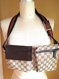 88e8f1e47981 Authentic Gucci Beige Fanny Pack with signature Red and Green stripe