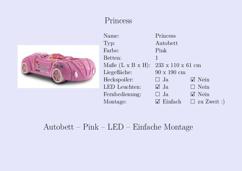 Kinderbett auto grün  Princess #Kinderbett #Mädchen #Auto #Pink | Steckbrief Kinderbett ...