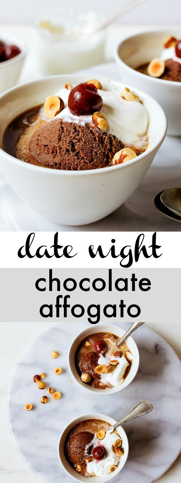 Hazelnut Mocha Affogato for Two. The best coffee dessert for two. Affogato is a shot of strong coffee (or espresso) poured over a scoop of ice cream. The hot coffee melts the ice cream slightly, and it's everything you need in life: caffeine plus sugar, hot plus cold. Amen. #coffee #affogato #hazelnut #mocha
