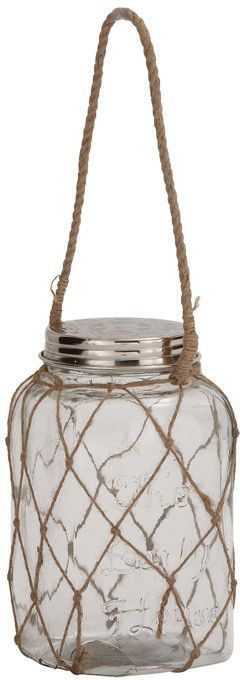 """UMA Inc Glass Rope Jar 6""""W, 20""""H"""