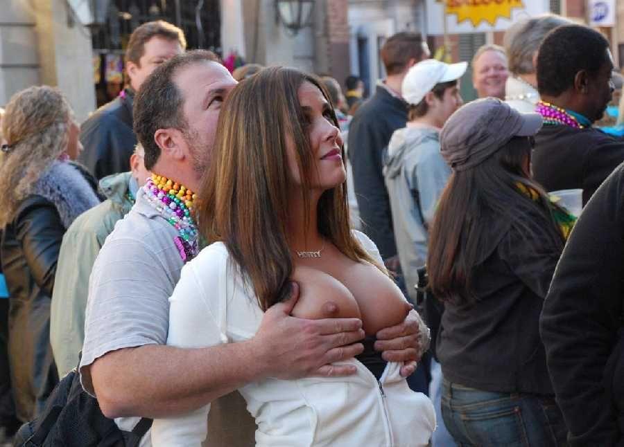 Naked girl grabbing boob