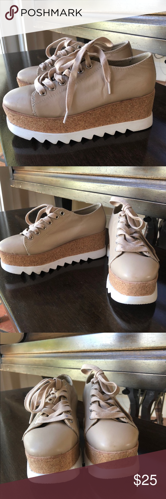 4fab708c221 Steve Madden Korrie Platform Barely worn! Stella McCartney inspired platform  sneaker by Steve Madden. Nude w  white soles. Size 5.5. Super trendy and  cute!