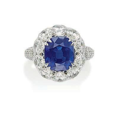 A 5.20 carats Kashmir cushion-shaped sapphire and diamond ring, by David Morris