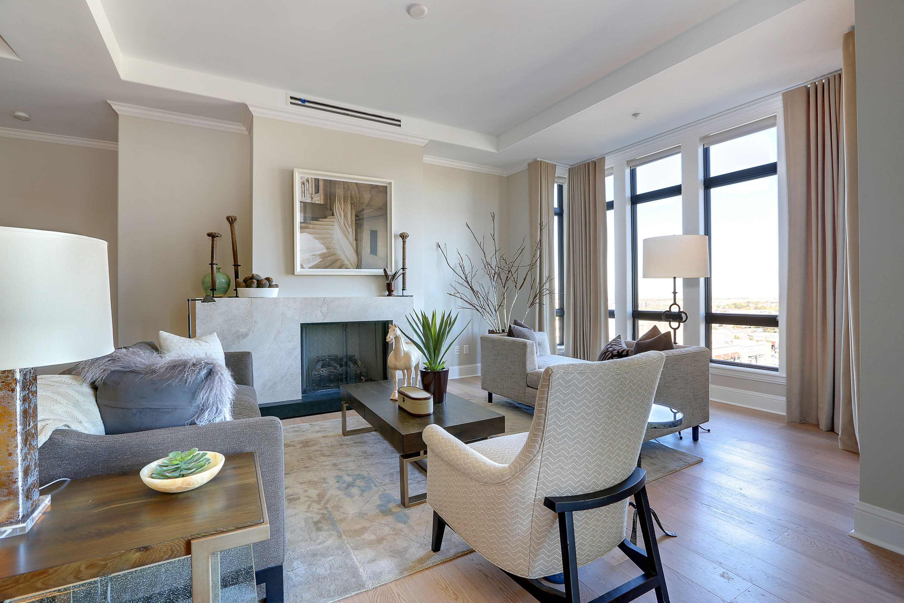 A light and bright living room with quite a view! All furniture and decor comes from HW Home, a Colorado company.