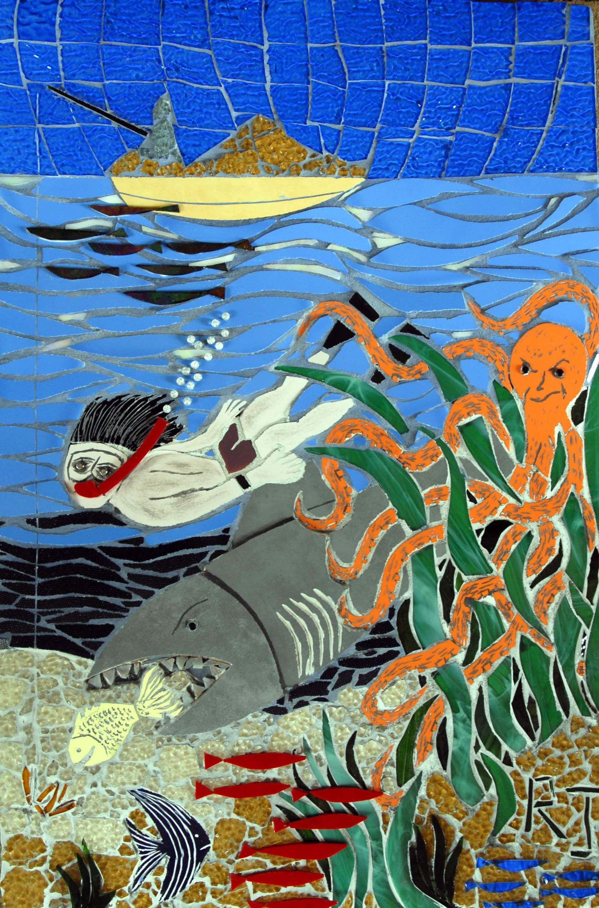 The barrier reef 75 cm x 50 cm mosaic art wall hanging 75 cm x 50 cm mosaic art wall hanging dailygadgetfo Gallery