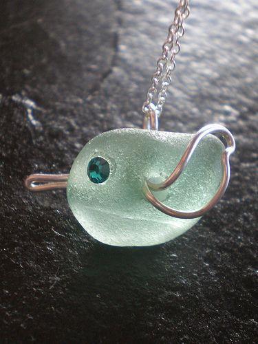 Sea Glass Jewelry #seaglass birdie www.seafinddesigns.etsy.com