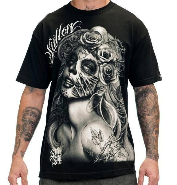 Goth Gothic Tattoo T-Shirt SUGAR SKULL DAY OF THE DEAD FULL ZIP HOODIE