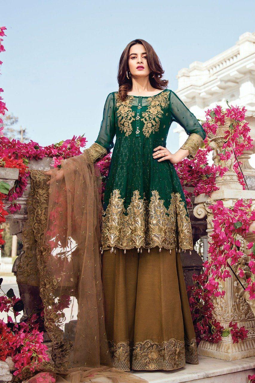 Beutifull Chiffon Dress In Dark Bottle Green Color Model C 1223 Pakistani Dress Design Shadi Dresses Chiffon Dress