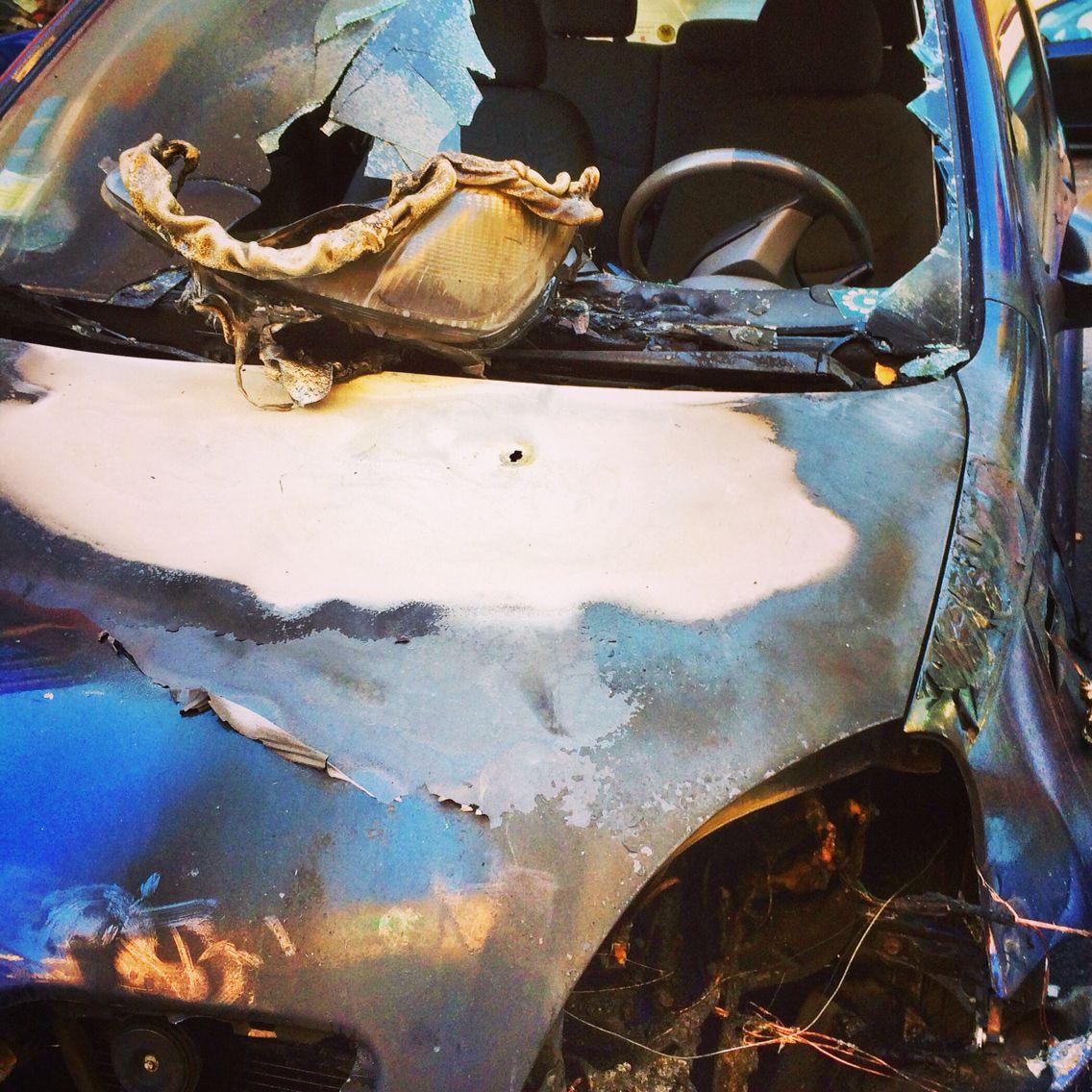 Street Style: a brand blue Toyota Yaris - Rome Italy, 8 november 2014