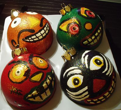 make halloween decorations from christmas ornaments balls diy crafts - Halloween Christmas Ornaments