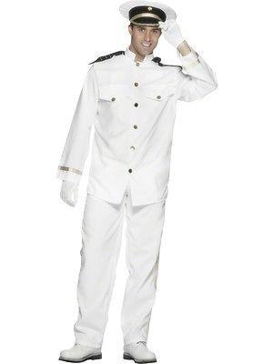 53c40b1b7 M/L/XL White Sailor Uniform Captain Suit + Hat + Gloves Mens Fancy ...