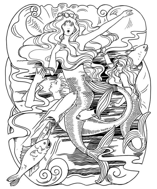The Little Mermaid Coloring Book Dover Publications Rhpinterest: Coloring Pages For Adults Little Mermaid At Baymontmadison.com