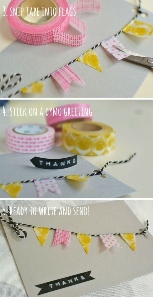 Cute and quick homemade thank you cards #maskingtapeart