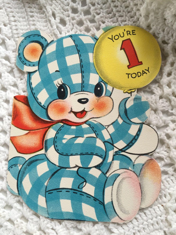 Vintage die cut birthday greeting card 1940s bear happy birthday vintage die cut birthday greeting card 1940s bear happy birthday card for one year old kristyandbryce Choice Image