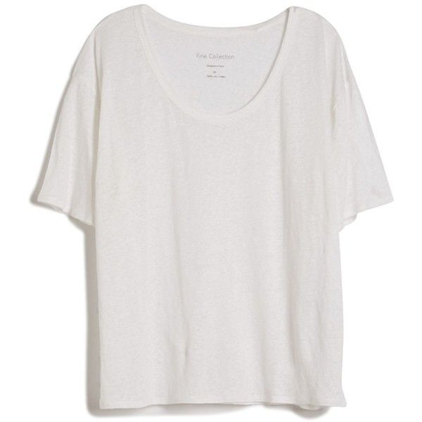 0519468b9498 Fine Collection Linen Baggy Tee (405 MYR) ❤ liked on Polyvore featuring  tops, t-shirts, shirts, tees, white t shirts, short sleeve linen shirt,  relax t ...
