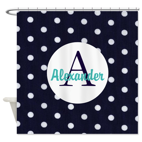 Personalized Navy Blue Polka Dots Shower Curtain on CafePress.com ...