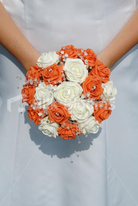 Orange Ivory Rose Hand Tied Crystal Brides Wedding Bouquet