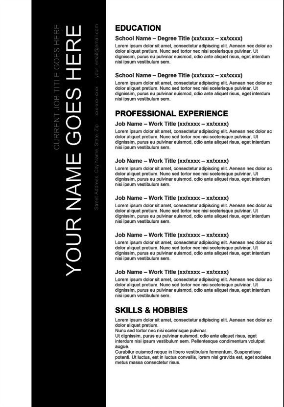 Resume, Templates and Black on Pinterest