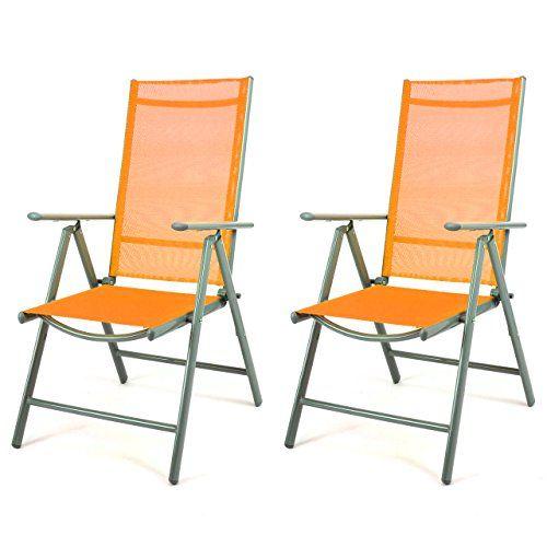 2er Set Klappstuhl Aluminium Gartenstuhl Alu Campingstuhl orange ...