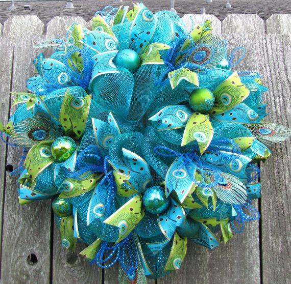 Photo of Items similar to Peacock Chrismas Deco Mesh Wreath on Etsy