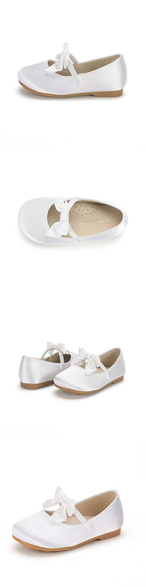 Dream Pairs SOPHIA-22 Adorables Mary Jane Front Bow Elastic Strap Ballerina Flat Toddler New WHITE SIZE 5