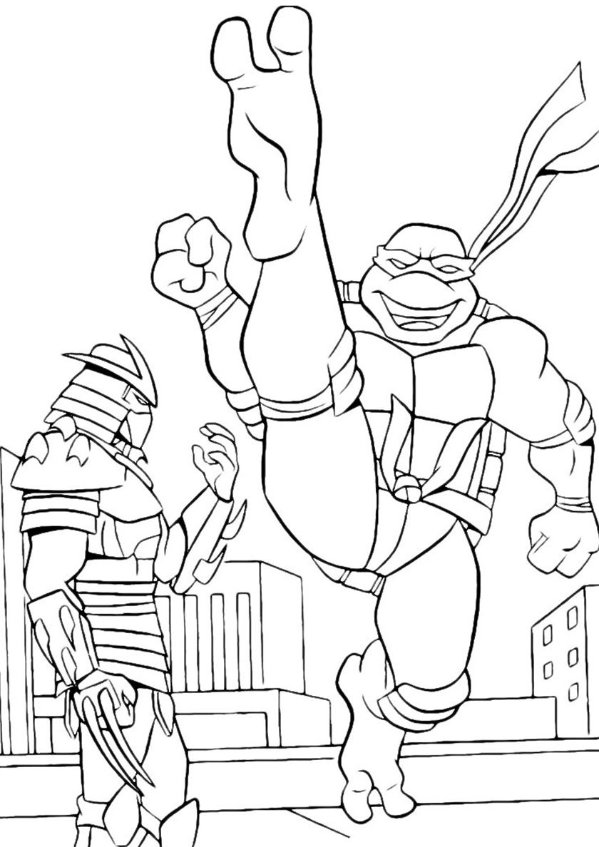 Leonardo Beats Shredder In 2020 Cartoon Coloring Pages Ninjago