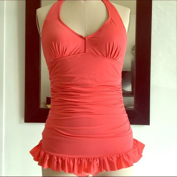 Retro-Inspired Swimsuit -NWOT Sample. Shirred swim dress. Fully lined. Removable bra pads. Coral. Ruffle hem. Swim One Pieces