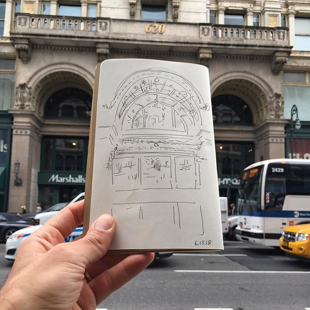 61318 Lunchtime Drawing The Grand Vaulted Entrance Into Former Siegel Cooper Dry Goods Store At 620 Sixth Avenue Built 1895 1897 And Designed By