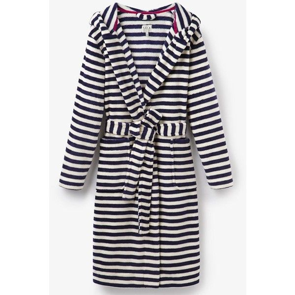 Women's Joules Rita Dressing Gown (135 BRL) ❤ liked on Polyvore featuring intimates, robes, fleece bathrobes, long dressing gowns, long bath robe, long bathrobe and dressing gown