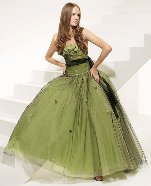 Abiti Da Sposa Verdi.Vestiti Da Cerimonia Tulle Verde Oliva Senza Spalline Abiti