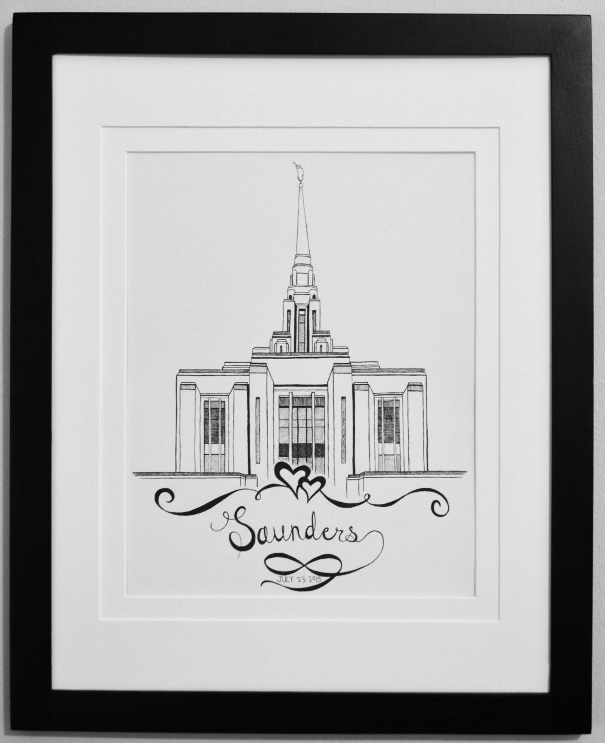 Personalized LDS Temple Original Pen and Ink Drawing- Framed- Ogden ...