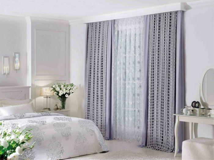 Cortinas dormitorio ejemplo en color lila suave toque for Cortinas en blanco