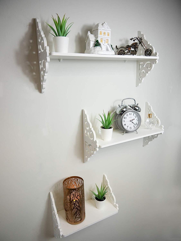 Set Of White Shabby Chic Filigree Floating Wall Shelves White