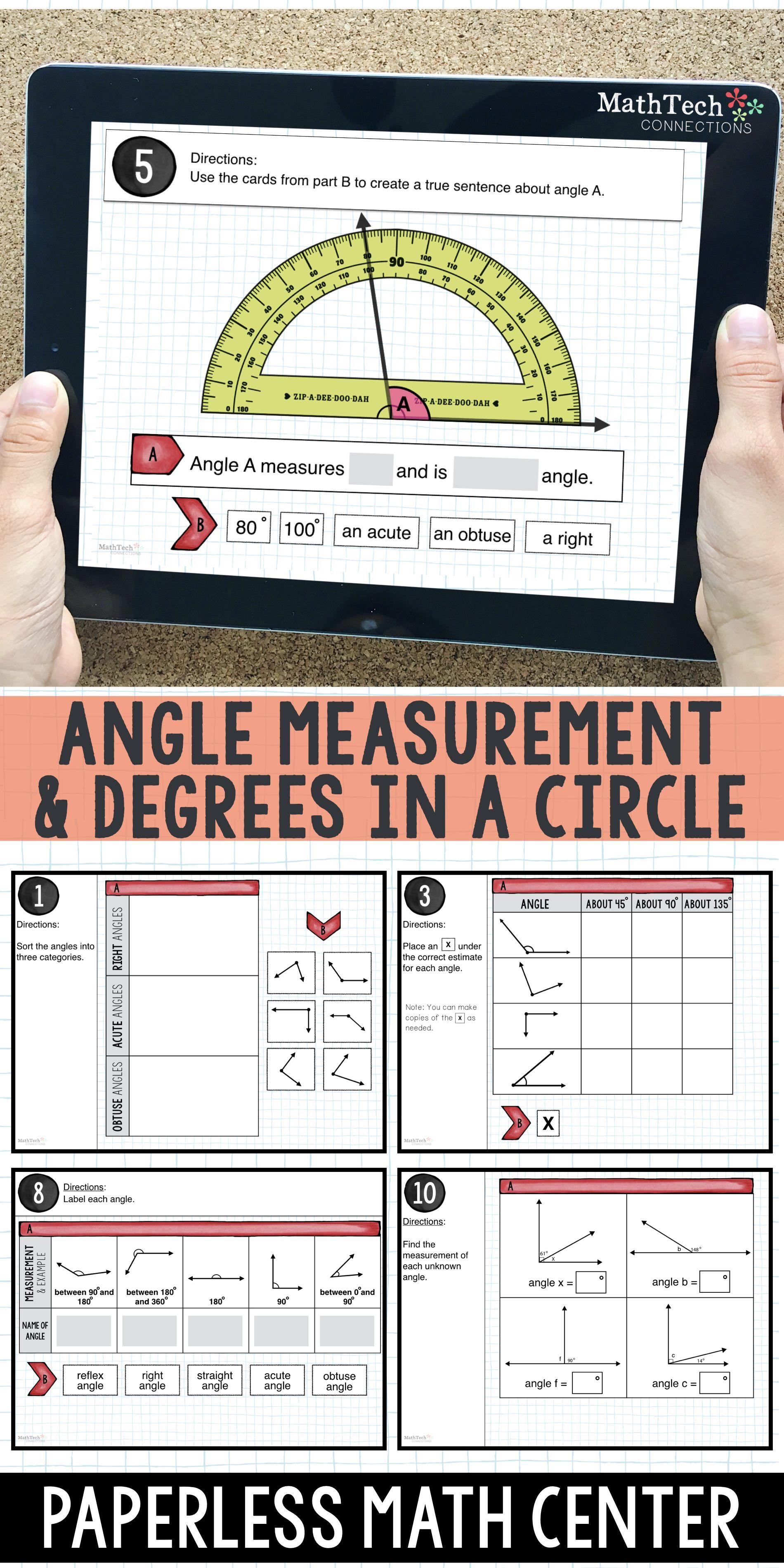 Angle Measurement Degrees In A Circle Math Center For Google Classroom Circle Math Classroom Math Centers Math [ 3800 x 1900 Pixel ]