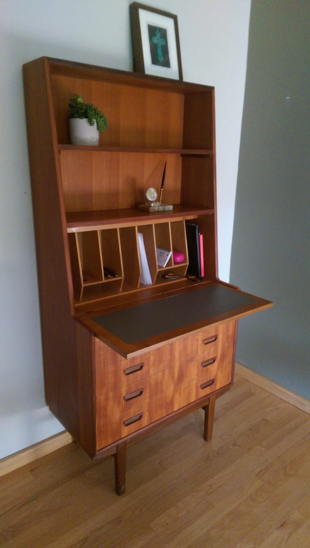 Danish mid century secretary desk opened.