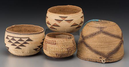 Four California Twined Basketry items c. 1900 - 1940   including three small lower Klamath bowls and a Modoc woman's hat,  pine root, bear grass, maiden hair fern, fiber, blue glass beads, hide the hat with old tag attached, inscribed E. P. Marshall Coll., 10-5-50  Provenance: Property from the Estate of Roy Raley, First President of the Pendleton Roundup  Diameters:  ranging from 4 ½ to 8 inches