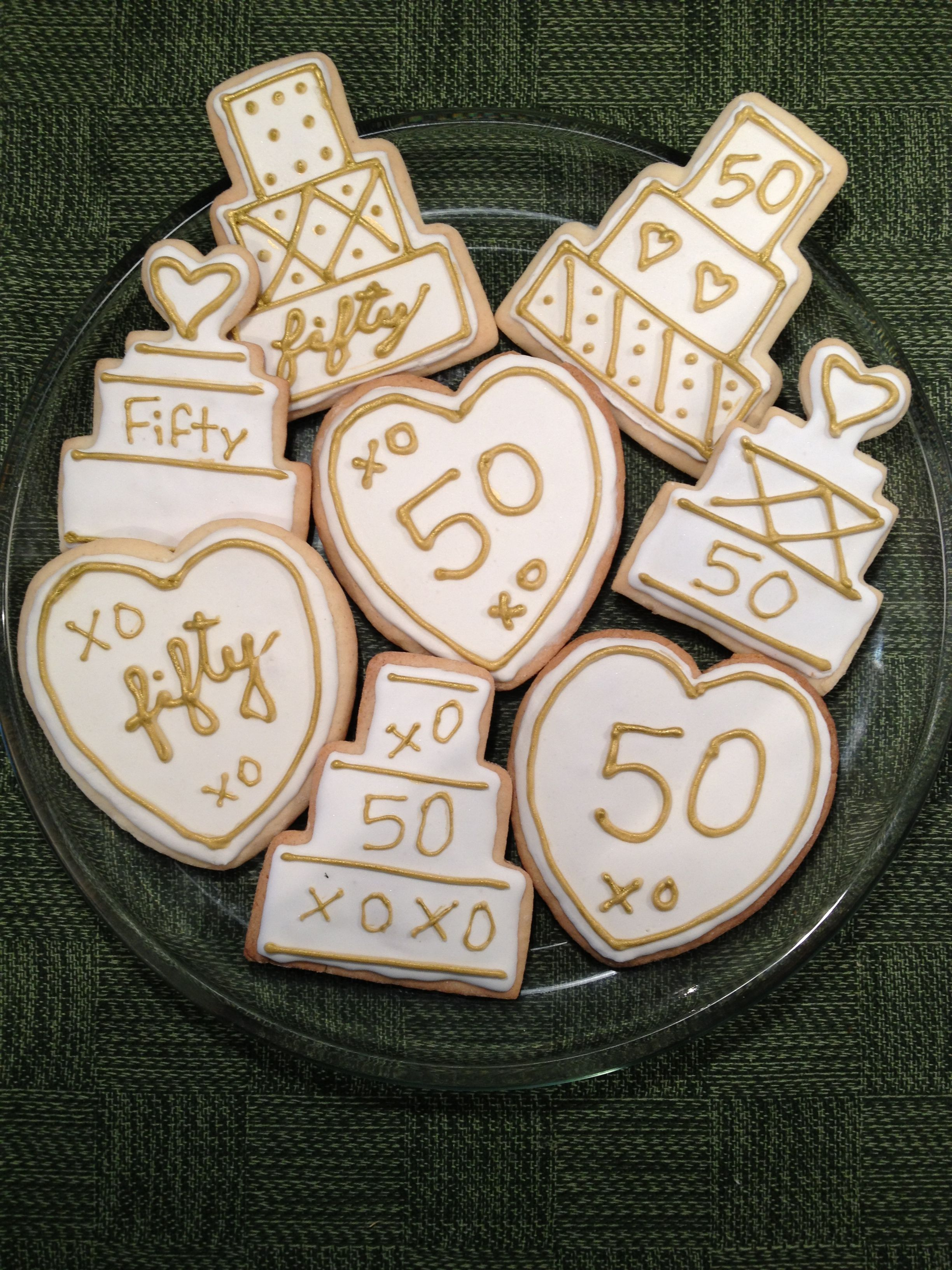 Almond Cookies with royal icing for 50th anniversary.