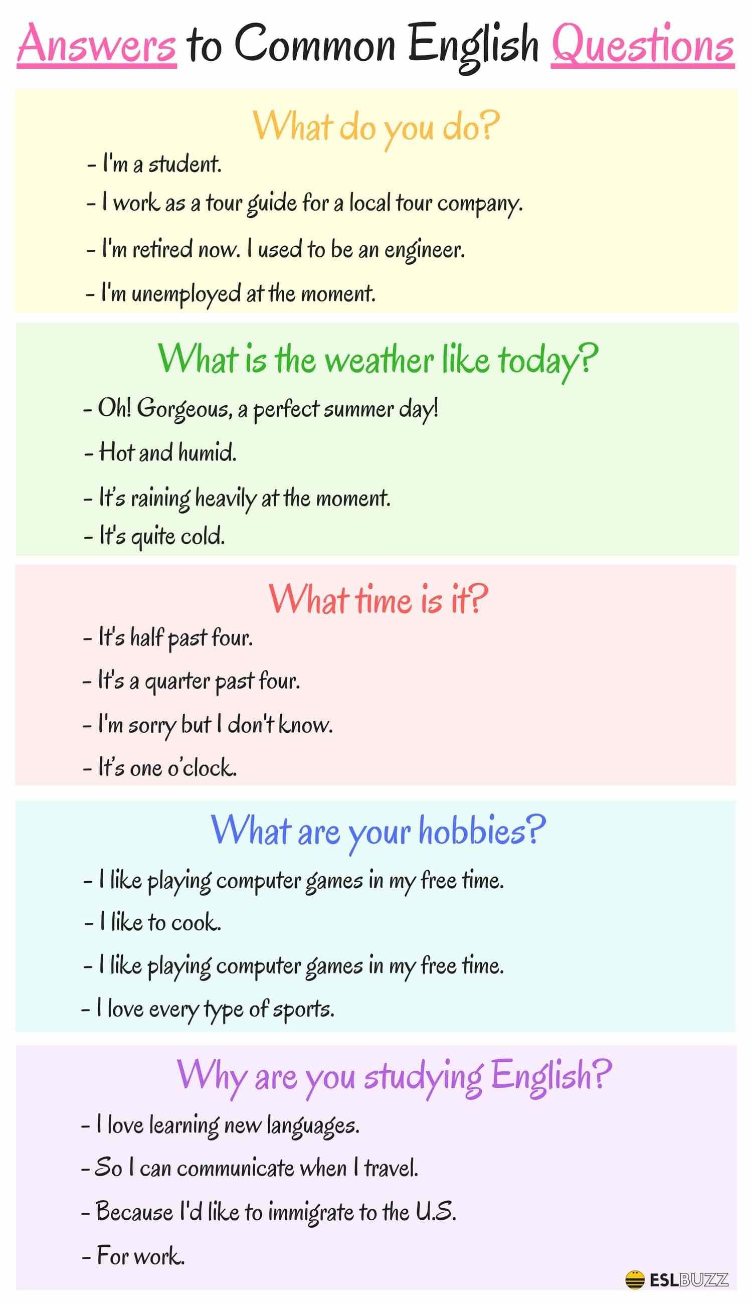 Phrases - Answers to Common English Questions | class ideas