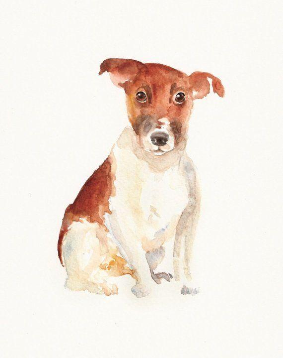JACKRUSSEL Original watercolour painting 8x10 by DIMDI