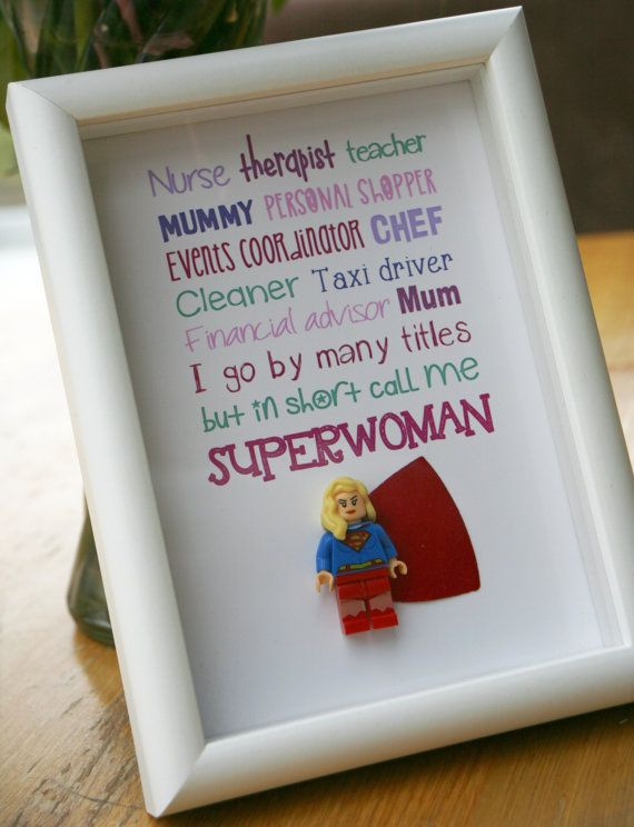superwoman small lego frame 5x7 mother aunt by throughcreation
